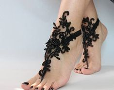 Black Lace sandals for wedding Foot Jewelry bridal sandals Bridal Sandals, Bridesmaid Sandals, Bridesmaid Gifts, Unique Anniversary Gifts, Cute Sandals, Beach Sandals, Shoes Sandals, Bare Foot Sandals, Anklet