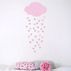 Raining Hearts Fabric Wall Sticker