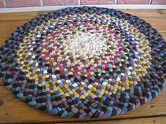 Handmade Wool Braided Rug in Shades of Blue and Mustard from recycled wool | Flickr - Photo Sharing!