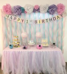 DIY streamer backdrop with Pom Poms. DIY Tutu skirt dessert table. DIY Hot Air Balloon Centerpiece. My daughters 1st Birthday! #CandyBuffet #StreamerBackdrop #TissuePaperPomPoms #TutuTableSkirt #HotAirBalloonCenterpiece #GirlsBirthdayParty #LavenderPinkMintWhite