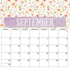 September 2018 Printable Template