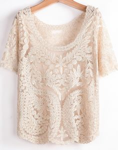 Apricot Short Sleeve Hollow Embroidered T-Shirt 16.83