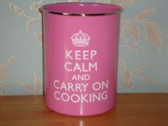 Keep Calm Carry On Cooking Metal Tin Utensils Pot Hot Pink Kitchen Accessory