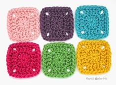 Pixel Crochet Squares - free pattern at Repeat Crafter Me.