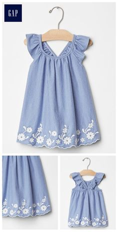 "Embroidered flutter dress ""Discover recipes, home ideas, style inspiration and other ideas to try. Frocks For Girls, Little Dresses, Little Girl Dresses, Girls Dresses, Toddler Dress, Toddler Outfits, Baby Dress, Kids Outfits, Infant Toddler"