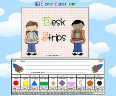 Kindy Classroom Desk Strips - Desk Mates - PDF file    A 3 page resource designed by Clever Classroom.    3 different desk strips, each two to a page.    These desk mates would be appropriate for Kindergarten students.    Easily print, laminate and cut your desk buddies for each student.      Explore and explain all parts of the desk tag and how best to use it.    Prompt children to use the desk strip in writing activities such as write the room, word scavenger hunt and read the room.$