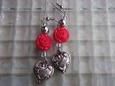 Red Silver Heart Earrings Flower Earrings Love Earrings by mscenna