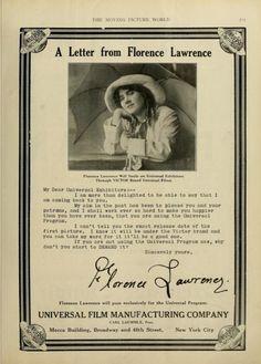 florence lawrence | Florence Lawrence | Silent Film Ads | Pinterest