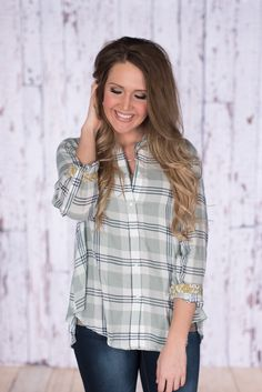 Spring Into Plaid Button Up - Mint