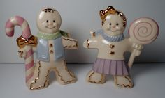 Lenox Gingerbread Man Boy & Girl Candy Cane Christmas Salt and Pepper Shakers