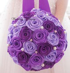 Purple POMANDERS, Brooch bouquet Wedding Pomanders pearl, satin rose ribbon Kissing balls Flower Balls Wedding Decor decorations bridesmaids by MemoryWedding on Etsy