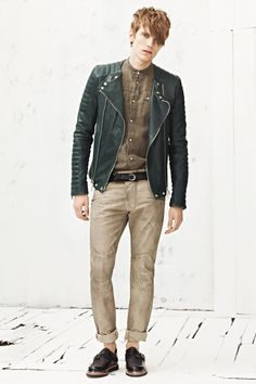 Green Leather Biker Jacket from Balmain Spring/Summer 2013 Collection