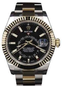 Rolex Sky-Dweller 326933 Two Tone Yellow Gold & Stainless Steel Black Dial 42mm Mens Watch Pre Owned Watches, Watches For Men, Sky Dweller, Omega Seamaster Automatic, Seamaster Aqua Terra, Luxury Watch Brands, Oyster Perpetual, Rolex Watches, Jewelry Design