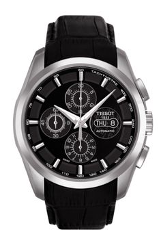 Tissot Couturier Automatic Men's Chronograph Valjoux Black Dial Watch with Black Leather Strap