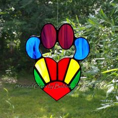 Rainbow Stained Glass Dog Paw Pad with by StainedGlassAndMore