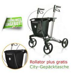 Handicare Gemino 30 Rollator mit CITY-Gepäcktasche Gemino 30 Original Leichtgewicht Rollator