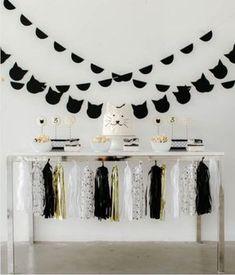 101 fiestas: Fiesta tematica de gatitos Kitten Party, Cat Party, Cat Birthday, Happy Birthday, Birthday Ideas, Paris Party, Black White Gold, Baby Shower, Throw A Party