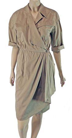 Thierry Mugler Paris Khaki Safari Wrap Dress 38 Vintage Cotton #ThierryMugler #AsymmetricalWrap