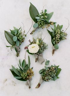 Creative Wedding Greenery Ideas That Will Rock Your World - greenery groom b. Creative Wedding Greenery Ideas That Will Rock Your World - greenery groom boutonnieres made of olive greens leaves, eucalyptus leaves and berries. Wedding Flower Guide, Fall Wedding Flowers, Wedding Flower Arrangements, Wedding Centerpieces, Floral Wedding, Wedding Bouquets, Wedding Decorations, Wedding Greenery, Greenery Bouquets