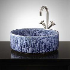 Nassau Hand-Glazed Pottery Vessel Sink - Mottled Blue