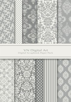 Damask Digital Scrapbook Paper Pack (8x11.5/300 dpi) -- 10 Digital papers -- Grey