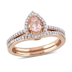 Pear-Shaped Morganite and CT. Diamond Frame Bridal Set in Rose Gold Wedding Rings Rose Gold, Wedding Band, Wedding Stuff, Bridesmaid Jewelry Sets, Bridal Sets, Fashion Rings, Fashion Jewelry, Women Jewelry, Beautiful Rings