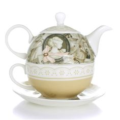 Tea for One Teapot Set with CUP & SAUCER Vintage Lady New Bone China Porcelain #Foris