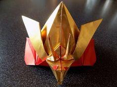折り紙 龍頭の飾り付き兜(かぶと)の折り方 前編 origami kabuto(japanese samurai helmet) - YouTube