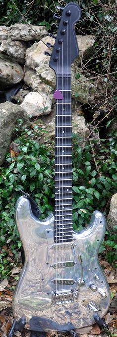 Cylon chrome Stratocaster. Keeping this shiny would be a nightmare!