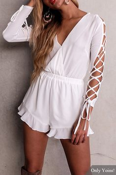 Semi Sheer V-neck Lace-up Details Long Sleeves Elastic Waist Playsuit