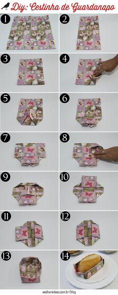 projeto faça voce mesmo de dobradura de guardanapo para fazer uma cestinha para pão.