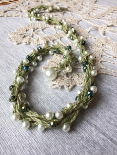 Linen necklace Natural jewelry Green linen necklace