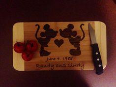 Mickey and Minnie Wedding Cutting Board on Etsy, $25.00 CAD