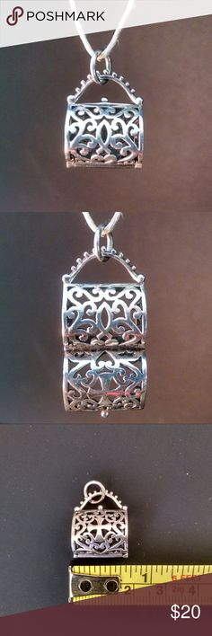 Sterling Silver Purse Locket - NWOT Sterling silver locket, opens with hinges and closes firmly. It can be left empty, used for aromatherapy filled, crystals, stone, fortune or prayer. Pendant only. Scent Locket, Aroma Locket, Aroma Jewelry. Essential Oil Diffuser Jewelry Necklaces