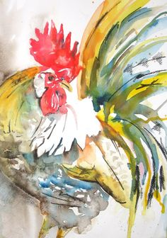 cockerel9aweb | Watercolour and charcoal on paper. | Liz | Flickr