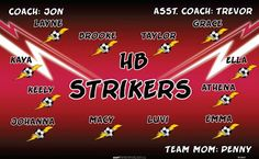 HB Strikers B53864  digitally printed vinyl soccer sports team banner. Made in the USA and shipped fast by BannersUSA.  You can easily create a similar banner using our Live Designer where you can manipulate ALL of the elements of ANY template.  You can change colors, add/change/remove text and graphics and resize the elements of your design, making it completely your own creation.