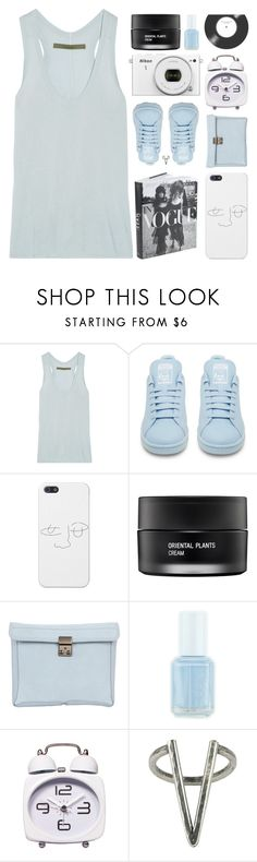 """""""LIVING IN THE REAL WORLD"""" by expresng ❤ liked on Polyvore featuring Enza Costa, adidas, Nikon, Koh Gen Do, 3.1 Phillip Lim, Essie, The 2 Bandits and living room"""