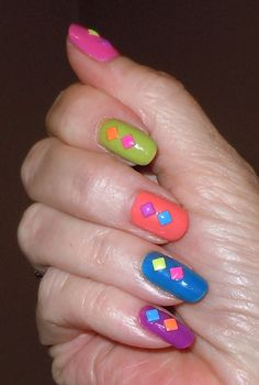 Using the new studs I purchased from Ali Express!  Skittles Nail Art!