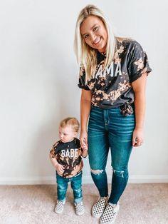 Mama Distressed Tee, Mama bleached black T-shirt, mama graphic tee Mommy And Me Shirt, Mama Shirt, Mommy And Me Outfits, Cute Outfits, Bleach T Shirts, Bleach Tie Dye, Cute Shirts, Kids Shirts, Look Short Jeans