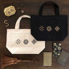 江戸の紋遊び【マチ付きバック・ぽち袋・マグネットのセット】 | ハンドメイドマーケット minne Reusable Tote Bags