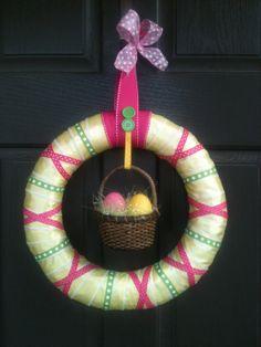 Easter Basket Wreath Yellow Green and Pink by PolkadotsOriginals