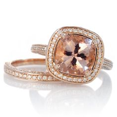 Rose Gold 9mm Cushion Cut Morganite Diamond Halo Pave by SAMnSUE, $3,480.00