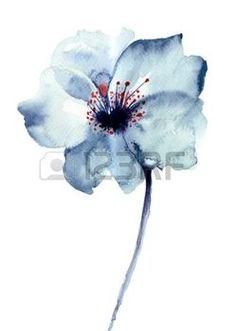 Dekoracyjne niebieski kwiat, akwarela ilustracji photo