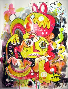 Jon Burgerman – Tired of Being Wired. Posca pen and spray paint paintings. The pieces focus on the frustrations of extreme convenience. Creative Box, Posca, Drawing Skills, Graffiti Art, Graphic Design Art, Doodle Art, Have Time, Cute Art, Pop Art