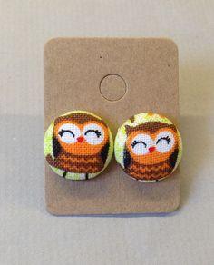 5/8 Size 24 Brown/Orange/Black/White Owl Fabric by RatDogInk