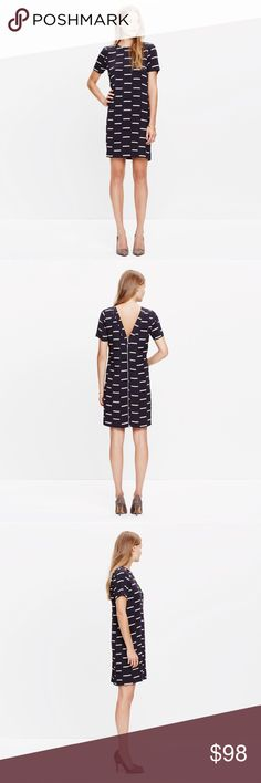 "Madewell Ikat Dash Dress An effortless T-shirt dress in an ikat-inspired print that redefines the classic stripe. An exposed zip and just-right low back give it a touch of attitude.   Nonwaisted. Falls 36 3/8"" from shoulder. Viscose. Dry clean. Import. Madewell Dresses"
