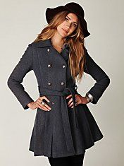 Double breasted tie wool coat