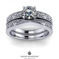 Filigree Diamond Engagement & Wedding Ring set = 0.40cts  GD612b