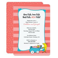 It's a girl! Invite all your guests to your Dr. Seuss, One Fish Two Fish themed baby shower. Personalize these super cute striped invitations with all your baby shower details. Baby Shower Invites For Girl, Baby Shower Themes, Baby Boy Shower, Baby Shower Decorations, Baby Shower Invitations, Dr Seuss Baby Shower Ideas, Baby Showers, Dr Suess Baby, One Fish