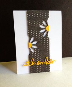 handmade card from I'm in Haven ... used CAS(E) this sketch #97 ... luv the black and white with yellow highlights ... negative space daisy ... half on each side of the column ... great interpretation of the sketch ...